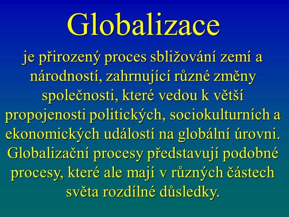 Globalizace je přirozený proces sbližování zemí a národností, zahrnující různé změny společnosti, které vedou k větší propojenosti politických, sociokulturních a ekonomických událostí na globální úrovni.