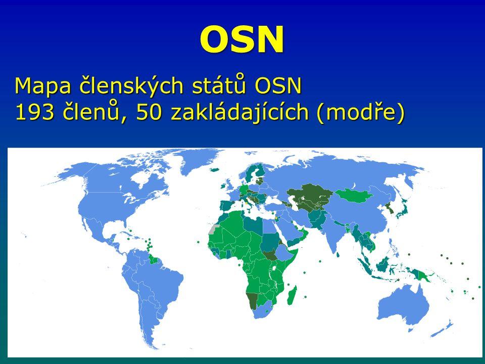 OSN Mapa členských států OSN 193 členů, 50 zakládajících (modře)