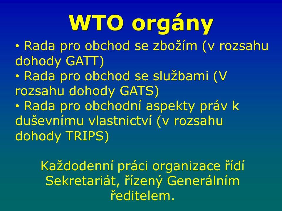 WTO orgány Rada pro obchod se zbožím (v rozsahu dohody GATT) Rada pro obchod se službami (V rozsahu dohody GATS) Rada pro obchodní aspekty práv k duševnímu vlastnictví (v rozsahu dohody TRIPS) Každodenní práci organizace řídí Sekretariát, řízený Generálním ředitelem.