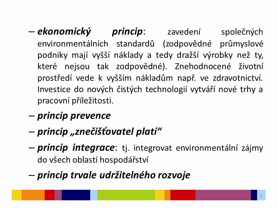 6 – ekonomický princip: zavedení společných environmentálních standardů (zodpovědné průmyslové podniky mají vyšší náklady a tedy dražší výrobky než ty, které nejsou tak zodpovědné).