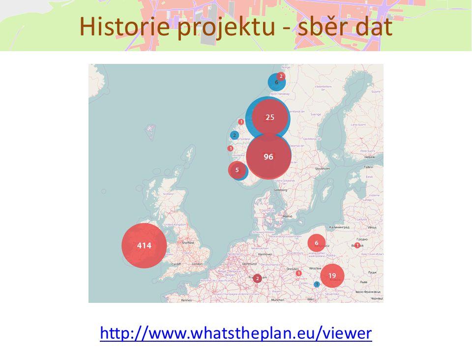 Historie projektu - sběr dat http://www.whatstheplan.eu/viewer