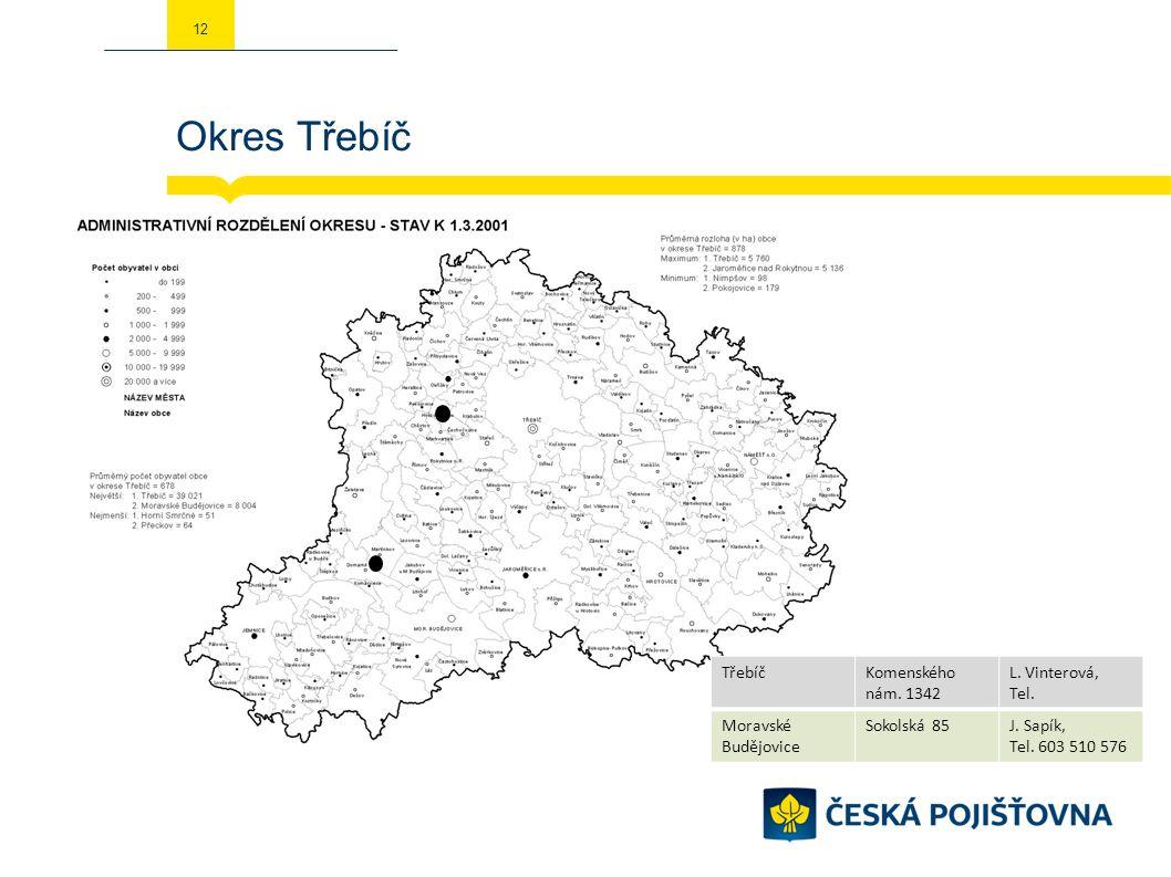 Okres Třebíč 12 TřebíčKomenského nám. 1342 L. Vinterová, Tel. Moravské Budějovice Sokolská 85J. Sapík, Tel. 603 510 576