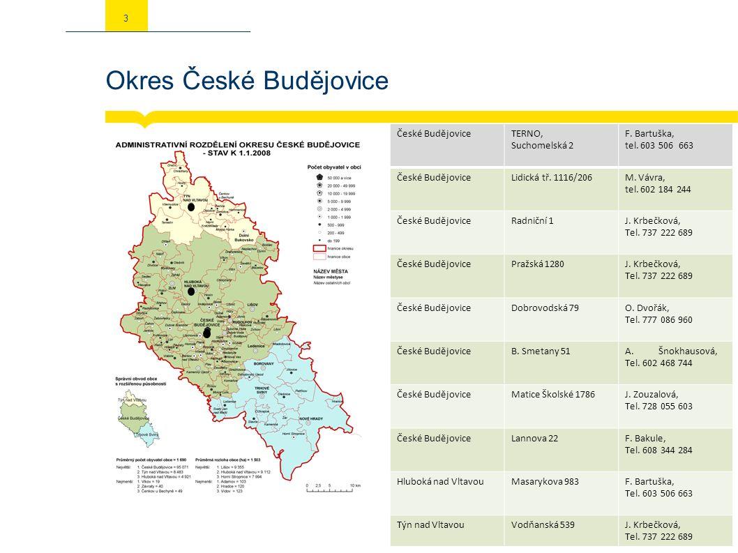 Okres České Budějovice 3 České BudějoviceTERNO, Suchomelská 2 F. Bartuška, tel. 603 506 663 České BudějoviceLidická tř. 1116/206M. Vávra, tel. 602 184