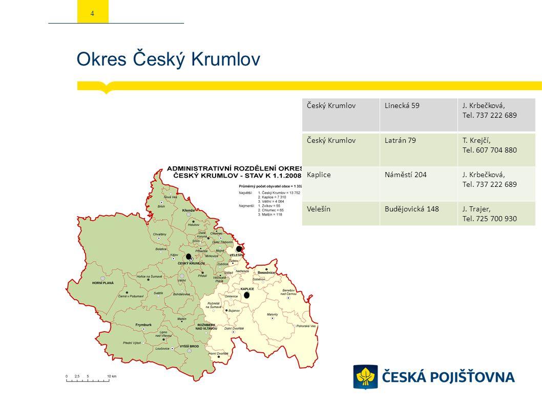 Okres Český Krumlov 4 Český KrumlovLinecká 59J. Krbečková, Tel.