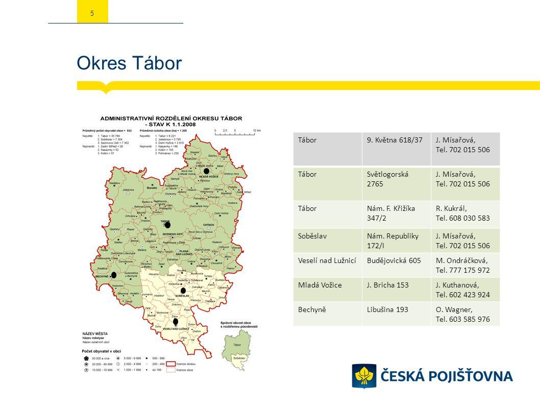 Okres Tábor 5 Tábor9. Května 618/37J. Mísařová, Tel.