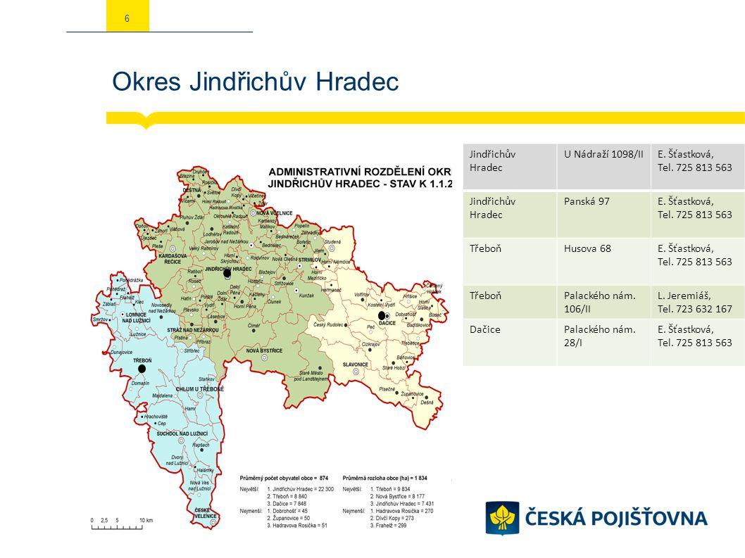 Okres Jindřichův Hradec 6 Jindřichův Hradec U Nádraží 1098/IIE. Šťastková, Tel. 725 813 563 Jindřichův Hradec Panská 97E. Šťastková, Tel. 725 813 563