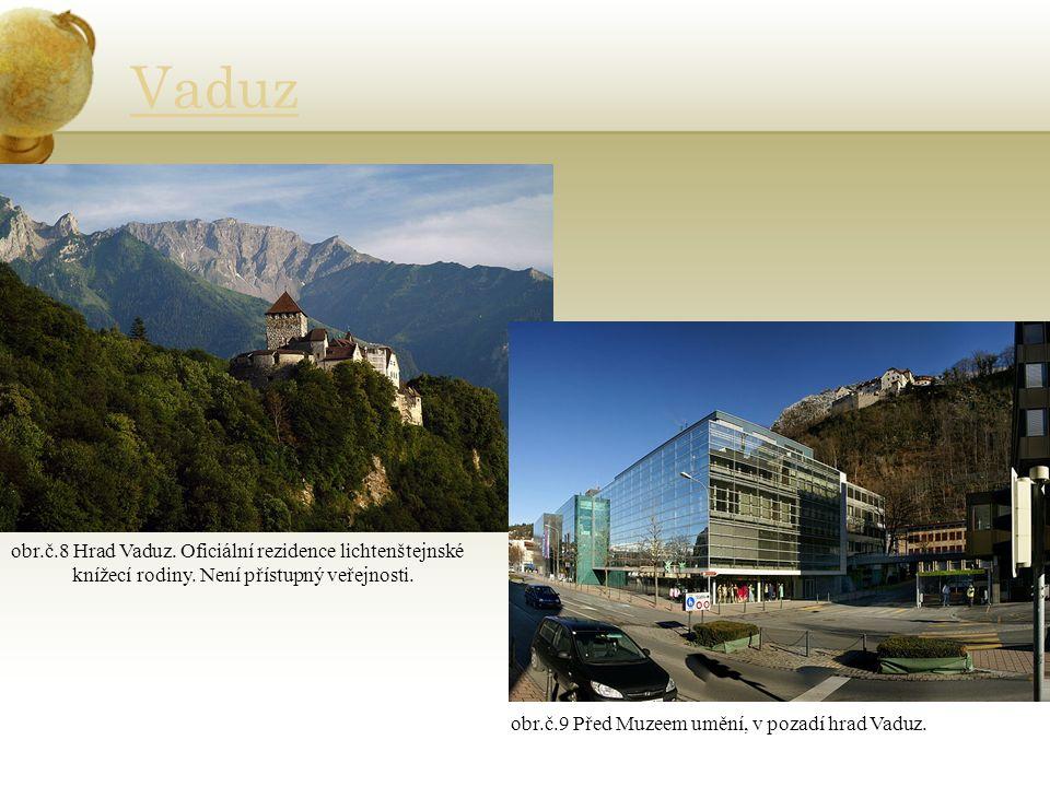 Vaduz obr.č.8 Hrad Vaduz. Oficiální rezidence lichtenštejnské knížecí rodiny.