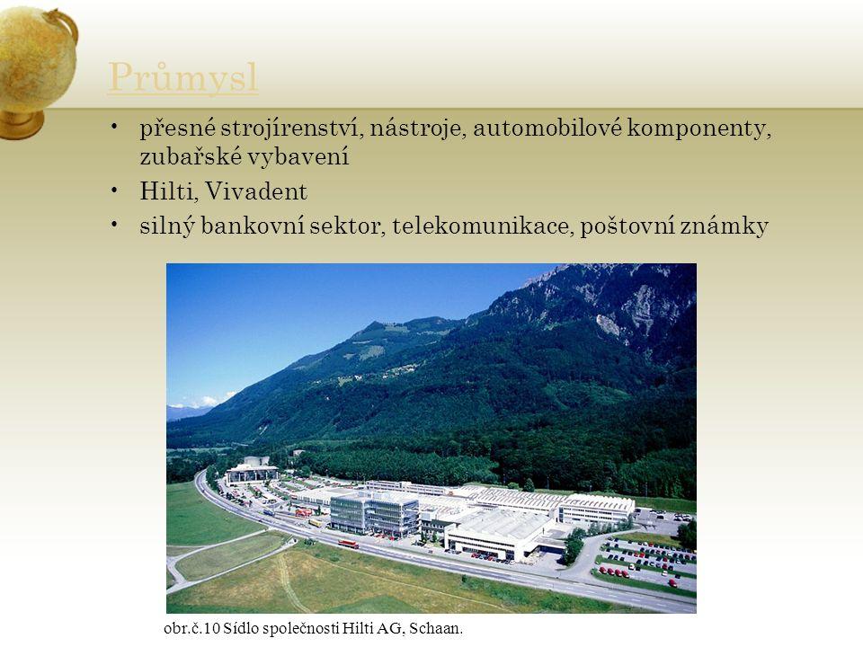 Průmysl přesné strojírenství, nástroje, automobilové komponenty, zubařské vybavení Hilti, Vivadent silný bankovní sektor, telekomunikace, poštovní známky obr.č.10 Sídlo společnosti Hilti AG, Schaan.