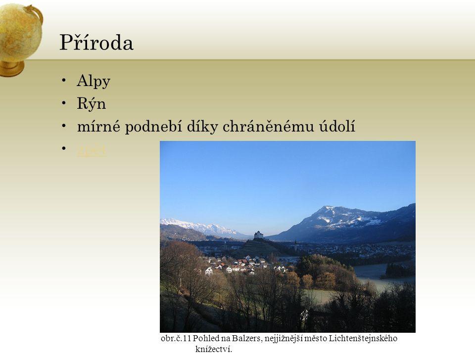 Příroda Alpy Rýn mírné podnebí díky chráněnému údolí zpět obr.č.11 Pohled na Balzers, nejjižnější město Lichtenštejnského knížectví.