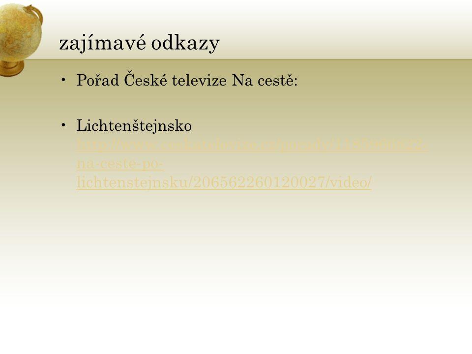 zajímavé odkazy Pořad České televize Na cestě: Lichtenštejnsko http://www.ceskatelevize.cz/porady/1185966822- na-ceste-po- lichtenstejnsku/20656226012
