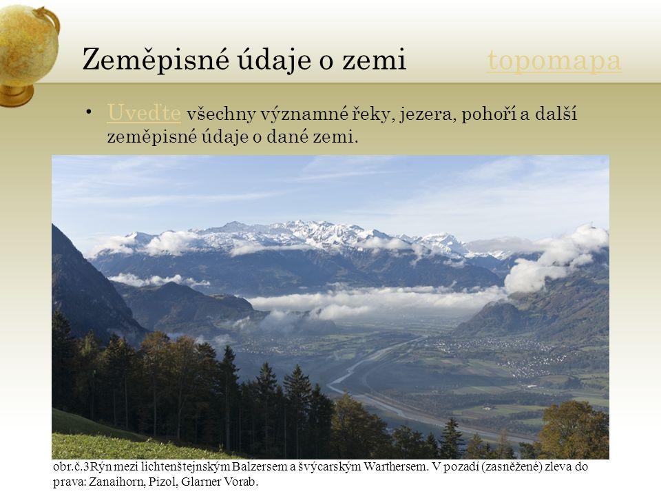 Zeměpisné údaje o zemi topomapatopomapa Uveďte všechny významné řeky, jezera, pohoří a další zeměpisné údaje o dané zemi.Uveďte obr.č.3Rýn mezi lichtenštejnským Balzersem a švýcarským Warthersem.