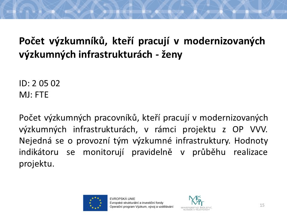 ID: 2 05 02 MJ: FTE Počet výzkumných pracovníků, kteří pracují v modernizovaných výzkumných infrastrukturách, v rámci projektu z OP VVV.
