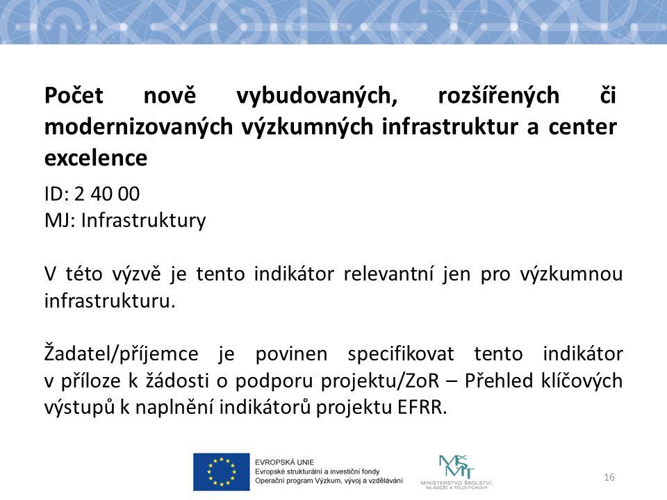 ID: 2 40 00 MJ: Infrastruktury V této výzvě je tento indikátor relevantní jen pro výzkumnou infrastrukturu.
