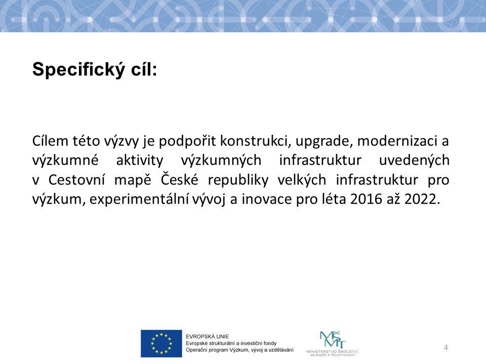 Specifický cíl: Cílem této výzvy je podpořit konstrukci, upgrade, modernizaci a výzkumné aktivity výzkumných infrastruktur uvedených v Cestovní mapě České republiky velkých infrastruktur pro výzkum, experimentální vývoj a inovace pro léta 2016 až 2022.