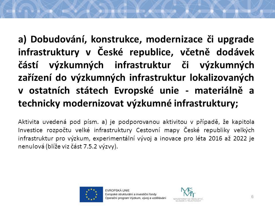 a) Dobudování, konstrukce, modernizace či upgrade infrastruktury v České republice, včetně dodávek částí výzkumných infrastruktur či výzkumných zařízení do výzkumných infrastruktur lokalizovaných v ostatních státech Evropské unie - materiálně a technicky modernizovat výzkumné infrastruktury; Aktivita uvedená pod písm.