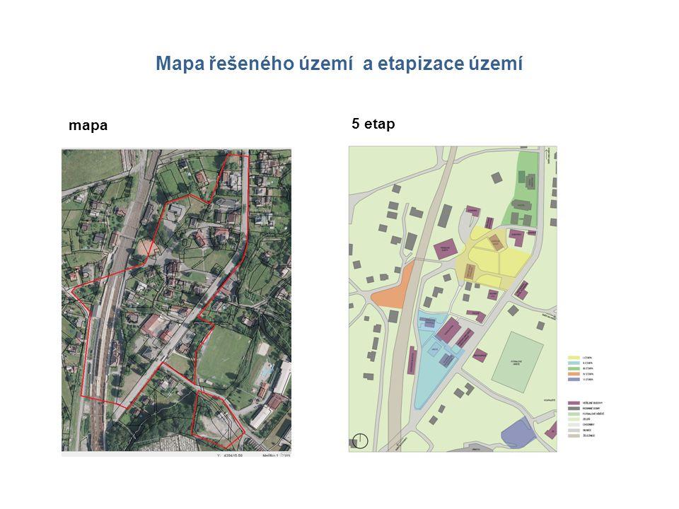 Mapa řešeného území a etapizace území mapa 5 etap