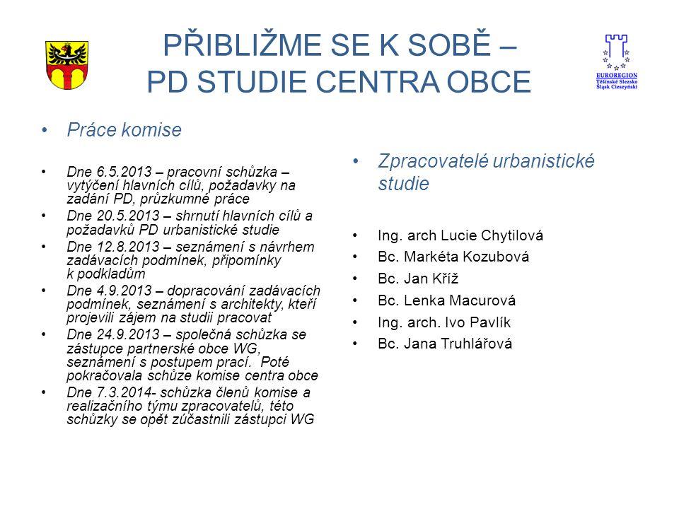 PŘIBLIŽME SE K SOBĚ – PD STUDIE CENTRA OBCE Práce komise Dne 6.5.2013 – pracovní schůzka – vytýčení hlavních cílů, požadavky na zadání PD, průzkumné práce Dne 20.5.2013 – shrnutí hlavních cílů a požadavků PD urbanistické studie Dne 12.8.2013 – seznámení s návrhem zadávacích podmínek, připomínky k podkladům Dne 4.9.2013 – dopracování zadávacích podmínek, seznámení s architekty, kteří projevili zájem na studii pracovat Dne 24.9.2013 – společná schůzka se zástupce partnerské obce WG, seznámení s postupem prací.
