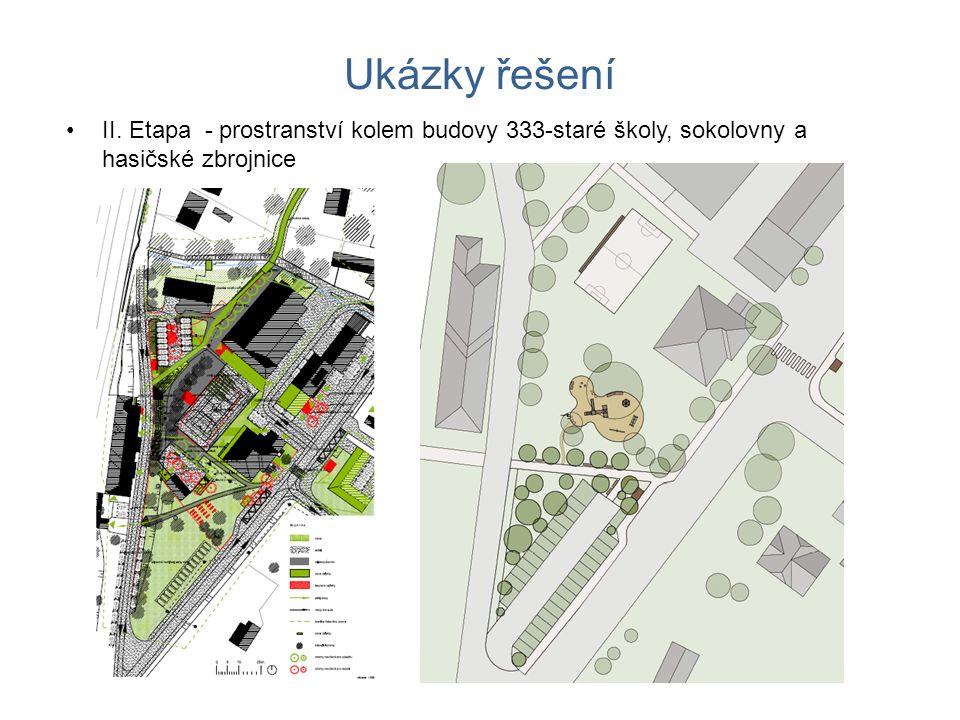 Ukázky řešení II. Etapa - prostranství kolem budovy 333-staré školy, sokolovny a hasičské zbrojnice