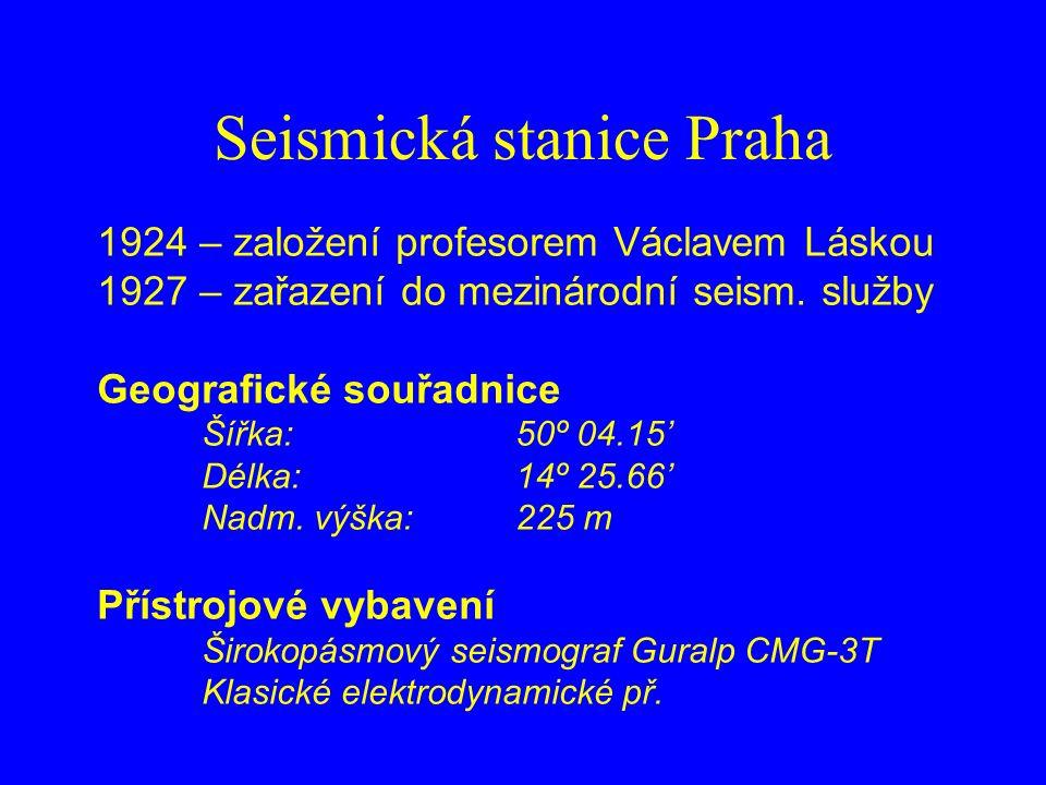 Seismická stanice Praha 1924 – založení profesorem Václavem Láskou 1927 – zařazení do mezinárodní seism.