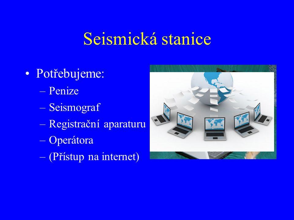 Seismická stanice Potřebujeme: –Penize –Seismograf –Registrační aparaturu –Operátora –(Přístup na internet)