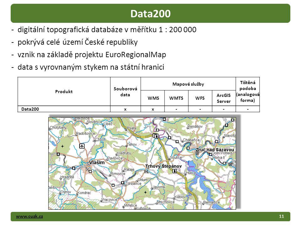 www.cuzk.cz11 Data200 - digitální topografická databáze v měřítku 1 : 200 000 - pokrývá celé území České republiky - vznik na základě projektu EuroRegionalMap - data s vyrovnaným stykem na státní hranici Produkt Souborová data Mapové služby Tištěná podoba (analogová forma) WMSWMTSWFS ArcGIS Server Data200xx----