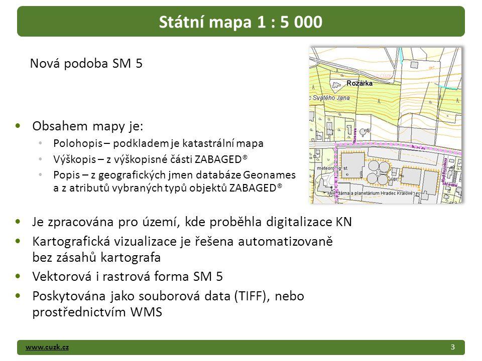 www.cuzk.cz Obsahem mapy je: Polohopis – podkladem je katastrální mapa Výškopis – z výškopisné části ZABAGED® Popis – z geografických jmen databáze Geonames a z atributů vybraných typů objektů ZABAGED® Je zpracována pro území, kde proběhla digitalizace KN Kartografická vizualizace je řešena automatizovaně bez zásahů kartografa Vektorová i rastrová forma SM 5 Poskytována jako souborová data (TIFF), nebo prostřednictvím WMS 3 Státní mapa 1 : 5 000 Nová podoba SM 5