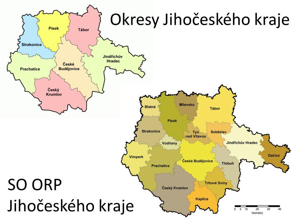 Okresy Jihočeského kraje SO ORP Jihočeského kraje