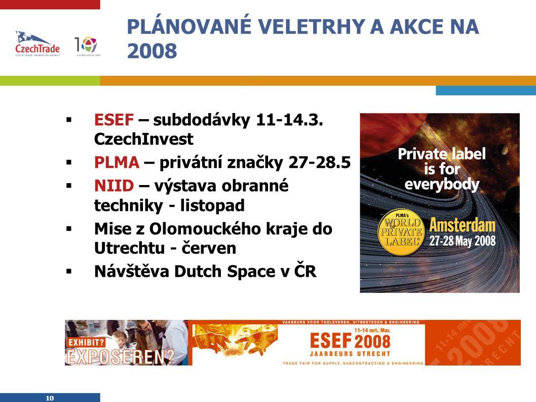 10 PLÁNOVANÉ VELETRHY A AKCE NA 2008  ESEF – subdodávky 11-14.3.