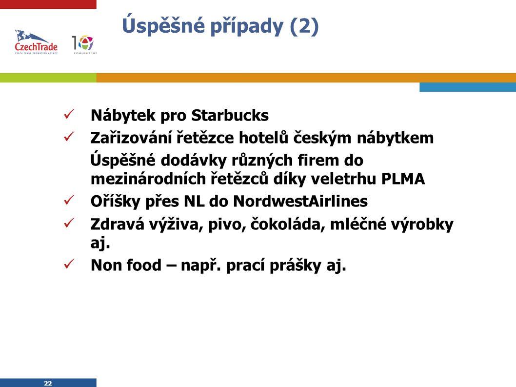 22 Úspěšné případy (2) Nábytek pro Starbucks Zařizování řetězce hotelů českým nábytkem Úspěšné dodávky různých firem do mezinárodních řetězců díky veletrhu PLMA Oříšky přes NL do NordwestAirlines Zdravá výživa, pivo, čokoláda, mléčné výrobky aj.