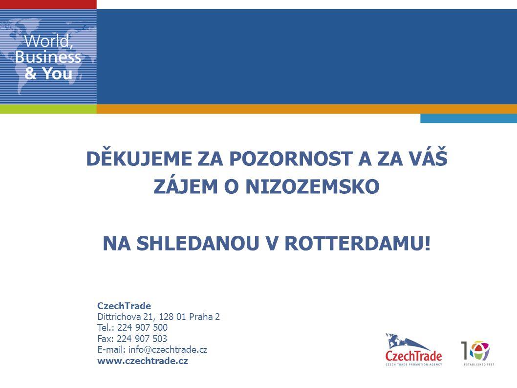CzechTrade Dittrichova 21, 128 01 Praha 2 Tel.: 224 907 500 Fax: 224 907 503 E-mail: info@czechtrade.cz www.czechtrade.cz  DĚKUJEME ZA POZORNOST A ZA VÁŠ  ZÁJEM O NIZOZEMSKO  NA SHLEDANOU V ROTTERDAMU!