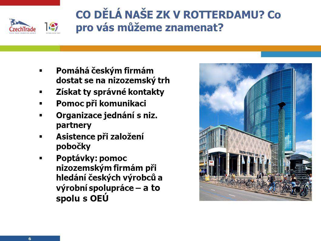 7 7 Spolupráce s místními a českými subjekty Místní subjekty:  Obchodní komory, Metaalunie, NIID, ING banka, EVD, ESA, NAG, Rotterdam Port Promotion Council aj.