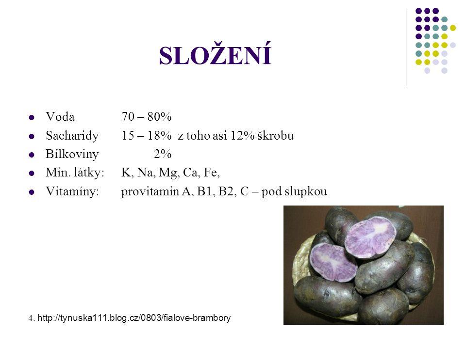 SLOŽENÍ Voda70 – 80% Sacharidy15 – 18% z toho asi 12% škrobu Bílkoviny 2% Min.