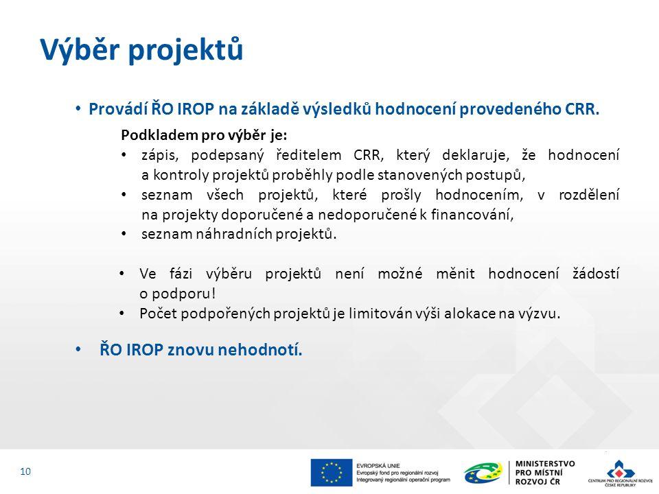 Provádí ŘO IROP na základě výsledků hodnocení provedeného CRR.