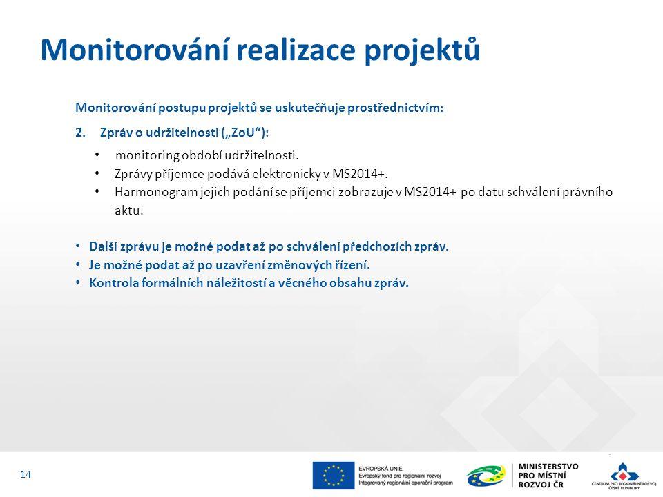 """Monitorování postupu projektů se uskutečňuje prostřednictvím: 2.Zpráv o udržitelnosti (""""ZoU ): monitoring období udržitelnosti."""