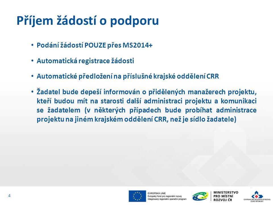 Podání žádostí POUZE přes MS2014+ Automatická registrace žádosti Automatické předložení na příslušné krajské oddělení CRR Žadatel bude depeší informován o přidělených manažerech projektu, kteří budou mít na starosti další administraci projektu a komunikaci se žadatelem (v některých případech bude probíhat administrace projektu na jiném krajském oddělení CRR, než je sídlo žadatele) Příjem žádostí o podporu 4