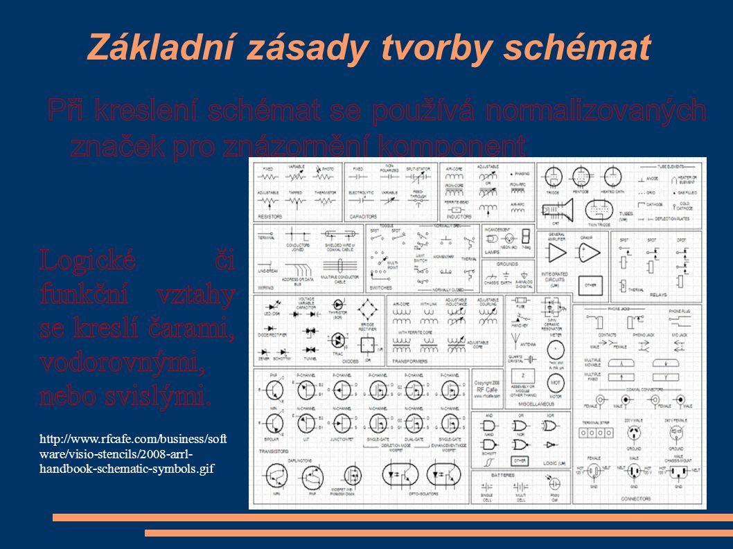 Základní zásady tvorby schémat http://www.rfcafe.com/business/soft ware/visio-stencils/2008-arrl- handbook-schematic-symbols.gif