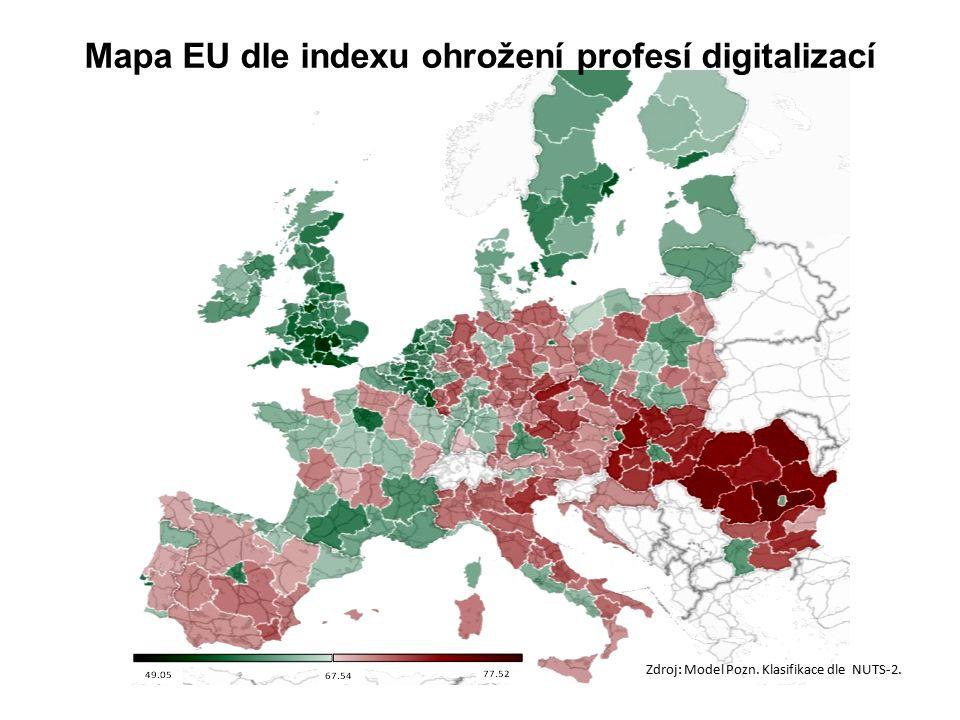Zdroj: Model Pozn. Klasifikace dle NUTS-2. Mapa EU dle indexu ohrožení profesí digitalizací