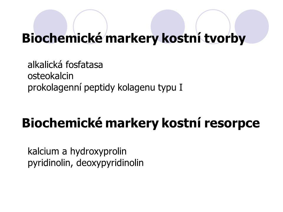 Biochemické markery kostní tvorby alkalická fosfatasa osteokalcin prokolagenní peptidy kolagenu typu I Biochemické markery kostní resorpce kalcium a hydroxyprolin pyridinolin, deoxypyridinolin