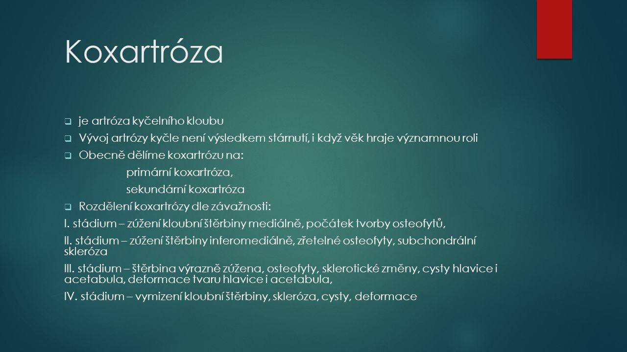 Koxartróza  je artróza kyčelního kloubu  Vývoj artrózy kyčle není výsledkem stárnutí, i když věk hraje významnou roli  Obecně dělíme koxartrózu na: