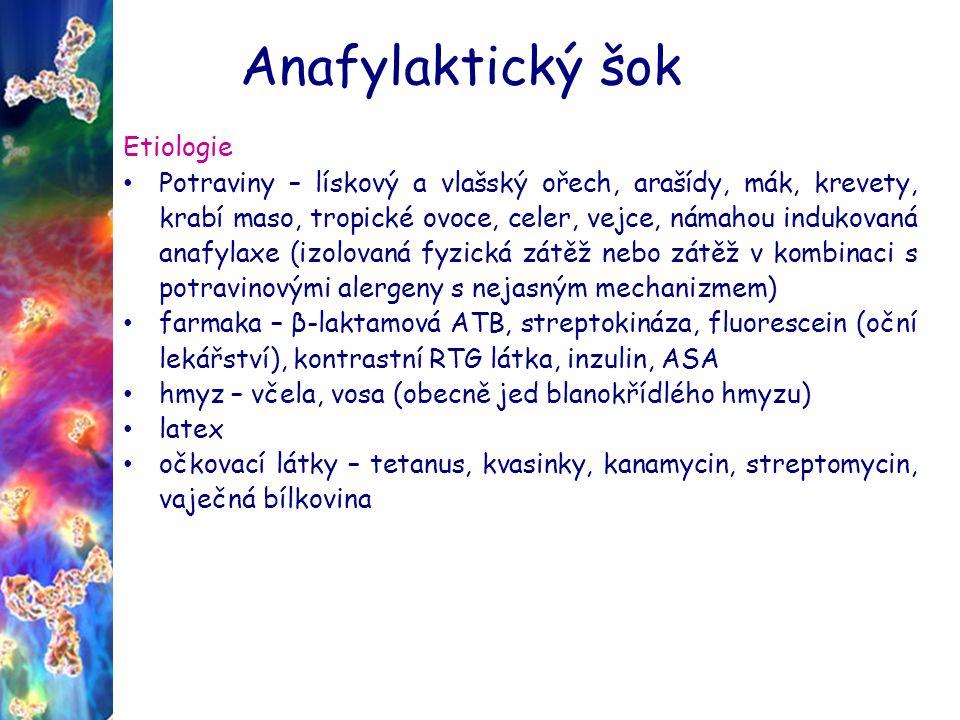 Anafylaktický šok Etiologie Potraviny – lískový a vlašský ořech, arašídy, mák, krevety, krabí maso, tropické ovoce, celer, vejce, námahou indukovaná anafylaxe (izolovaná fyzická zátěž nebo zátěž v kombinaci s potravinovými alergeny s nejasným mechanizmem) farmaka – β-laktamová ATB, streptokináza, fluorescein (oční lekářství), kontrastní RTG látka, inzulin, ASA hmyz – včela, vosa (obecně jed blanokřídlého hmyzu) latex očkovací látky – tetanus, kvasinky, kanamycin, streptomycin, vaječná bílkovina