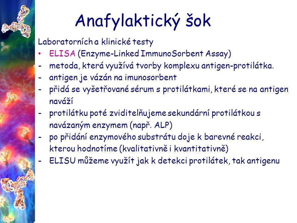 Anafylaktický šok Laboratorních a klinické testy ELISA (Enzyme-Linked ImmunoSorbent Assay) -metoda, která využívá tvorby komplexu antigen-protilátka.