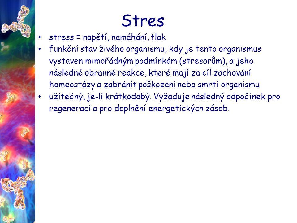 Stres stress = napětí, namáhání, tlak funkční stav živého organismu, kdy je tento organismus vystaven mimořádným podmínkám (stresorům), a jeho následné obranné reakce, které mají za cíl zachování homeostázy a zabránit poškození nebo smrti organismu užitečný, je-li krátkodobý.