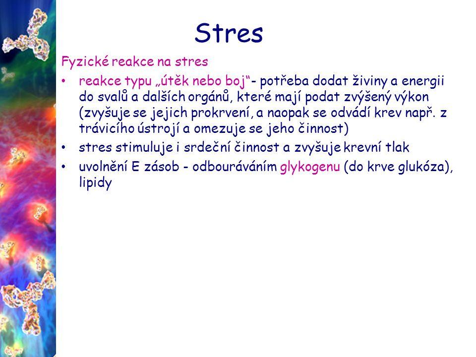 """Stres Fyzické reakce na stres reakce typu """"útěk nebo boj - potřeba dodat živiny a energii do svalů a dalších orgánů, které mají podat zvýšený výkon (zvyšuje se jejich prokrvení, a naopak se odvádí krev např."""