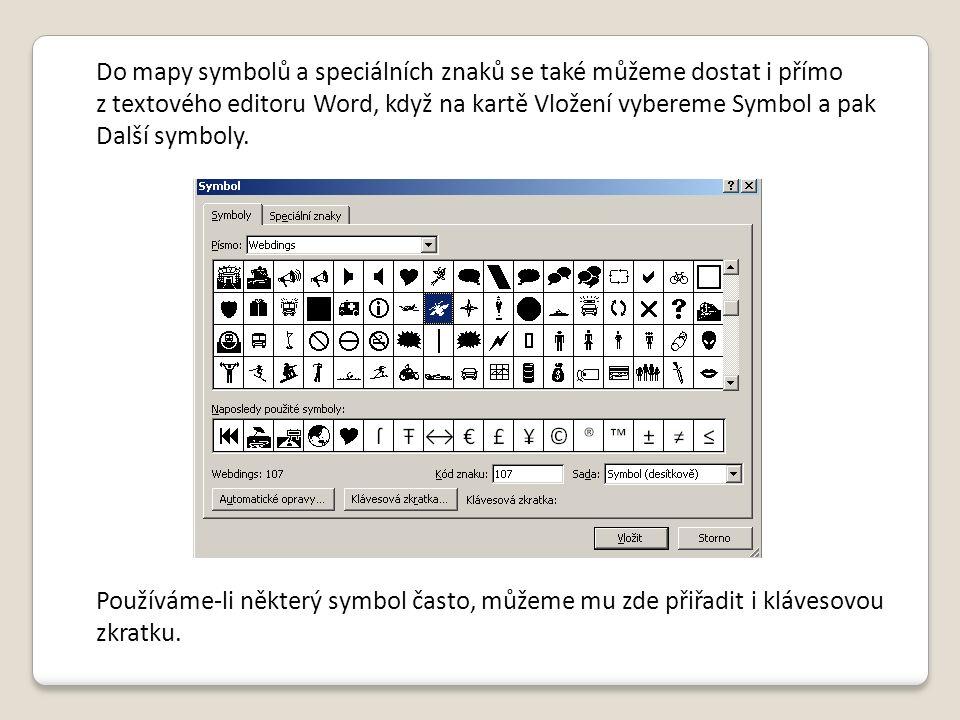 Do mapy symbolů a speciálních znaků se také můžeme dostat i přímo z textového editoru Word, když na kartě Vložení vybereme Symbol a pak Další symboly.