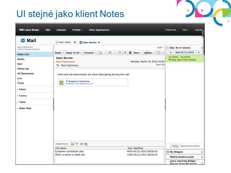 Vylepšení iNotes Lepší práce s přílohami Lepší zadávání, plánování času Rozšíření pravého sidebaru LiveText – získávání dodateční informace v kontextu Integrace s gadgety