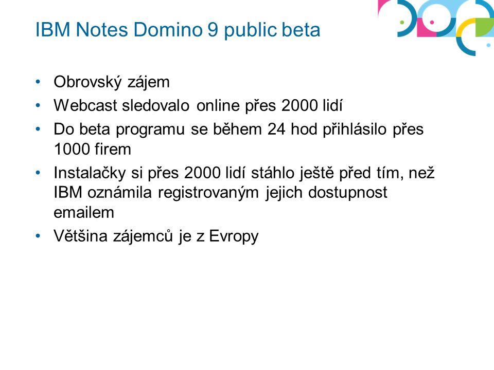 IBM Notes Domino 9 public beta Obrovský zájem Webcast sledovalo online přes 2000 lidí Do beta programu se během 24 hod přihlásilo přes 1000 firem Inst