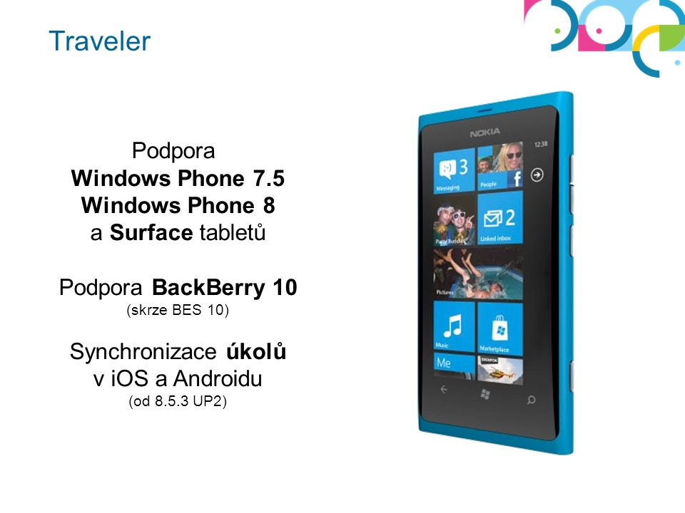 Podpora Windows Phone 7.5 Windows Phone 8 a Surface tabletů Podpora BackBerry 10 (skrze BES 10) Synchronizace úkolů v iOS a Androidu (od 8.5.3 UP2)