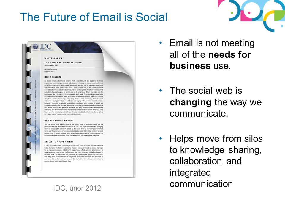 The Future of Email is Social Email is not meeting all of the needs for business use.