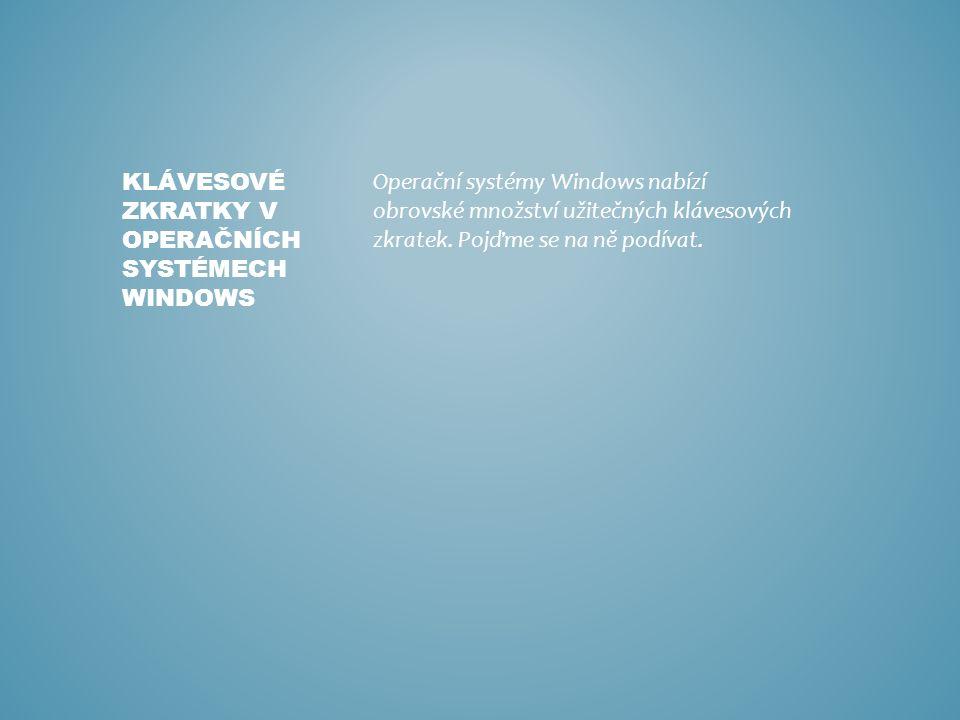 Operační systémy Windows nabízí obrovské množství užitečných klávesových zkratek.