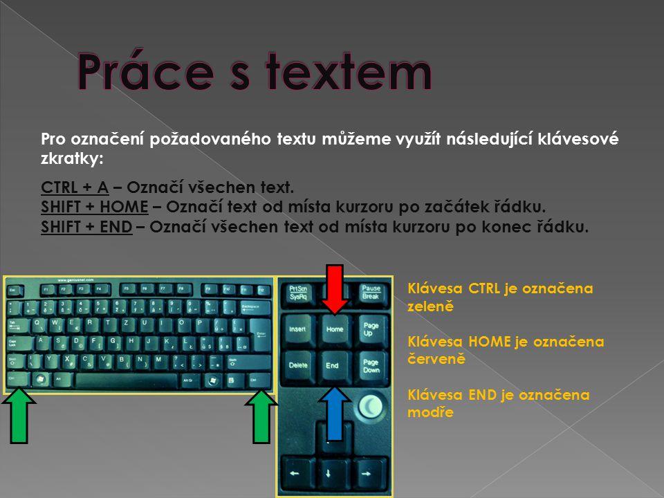 SHIFT + kurzorové klávesy (šipky) vlevo nebo vpravo – Označí text od místa kurzoru po jednotlivých znacích.